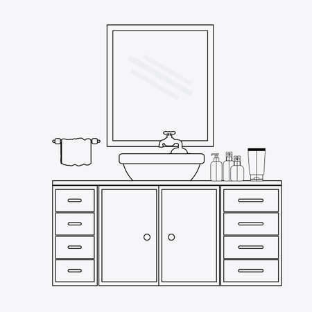 plactic: furniture design over white background, vector illustration.