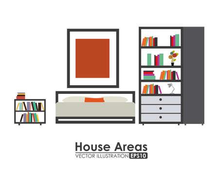bed room: furniture design over white background, vector illustration.