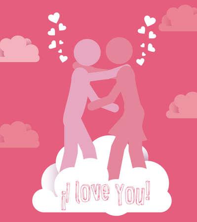 serenading: Love design over pink vector illustration.