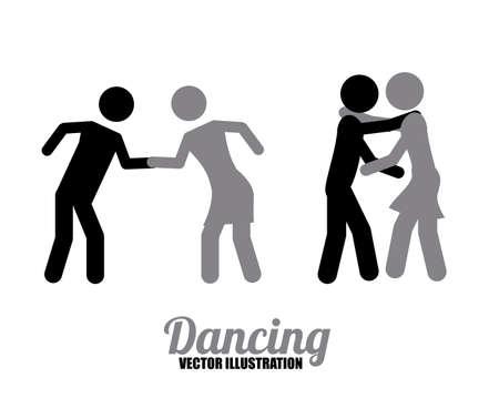 serenading: dancing icons, vector illustration Illustration