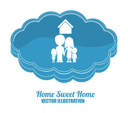 family outside house: sweet home design over white background, vector illustration. Illustration