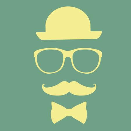 mister: Hipster design over green  background, vector illustration.