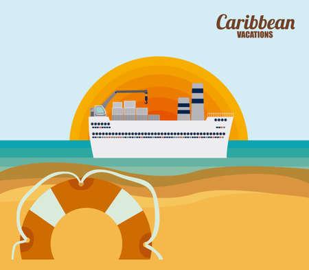 lllustration: Caribbean Cruise  Design, vector lllustration Illustration
