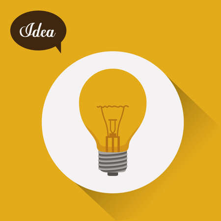 happyness: Idea design over yellow background