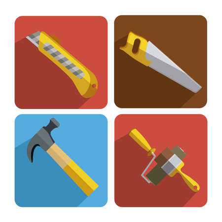 warning saw: Under construction design, vector illustration, frame design