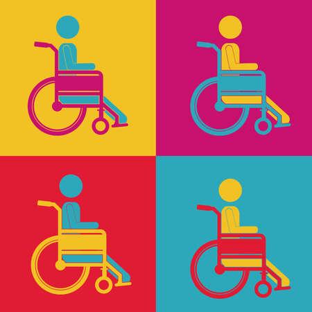 paraplegic: Dise�o discapacitados sobre fondo blanco, ilustraci�n vectorial