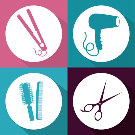 secador de pelo: Diseño Hair Salon sobre fondo multicolor, ilustración vectorial