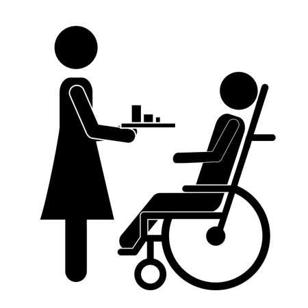 paraplegic: Diseño discapacitados sobre fondo blanco, ilustración vectorial