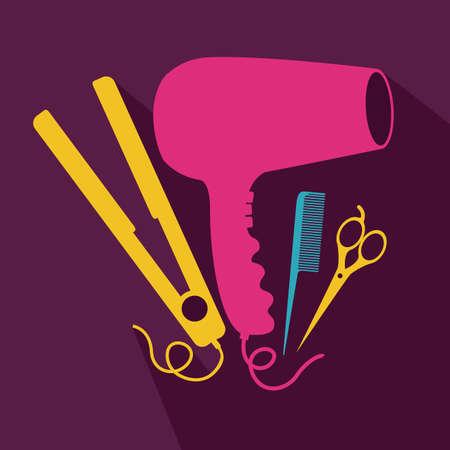 hairstylist: Hair Salon design over purple background, vector illustration