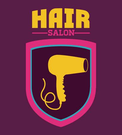 haircare: Hair Salon design over purple background, vector illustration