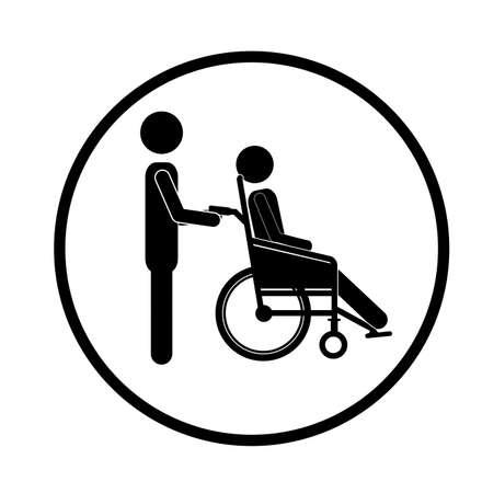 paraplegico: Dise�o discapacitados sobre fondo blanco, ilustraci�n vectorial
