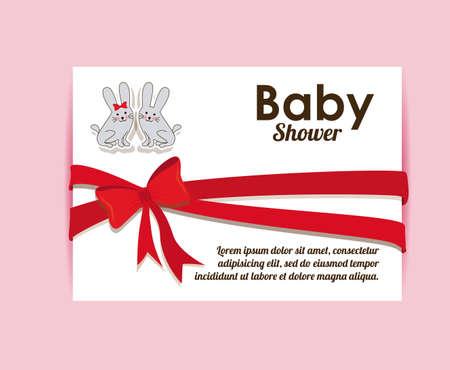 baby shower background: Baby Showe design over pink background, vector illustration
