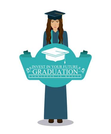 graduacion de universidad: Diseño de la universidad y la graduación de más de fondo blanco, ilustración vectorial Vectores