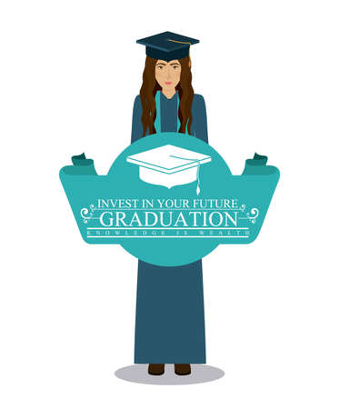 college graduation: University and Graduation design over white background, vector illustration