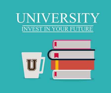University and Graduation design over blue background, vector illustration
