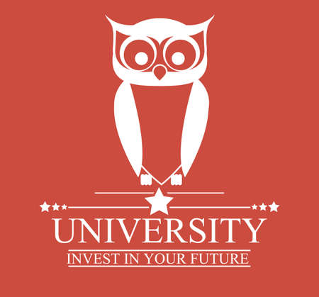 University and Graduation design over red background, vector illustration