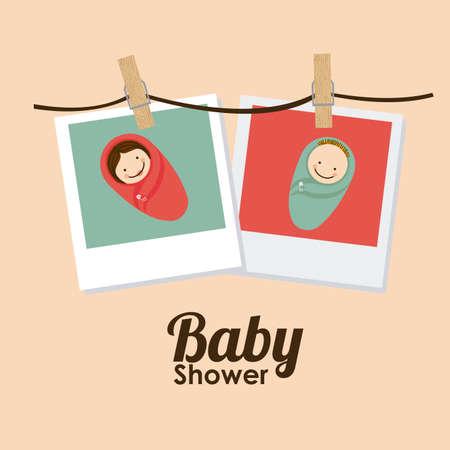 funny background: Baby Showe design over orange background, vector illustration