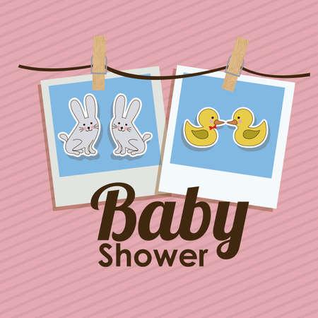 Baby Showe design over pink background, vector illustration Vector