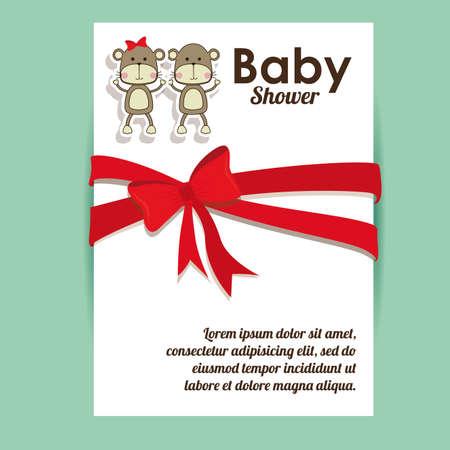 baby shower background: Baby Showe design over green background, vector illustration