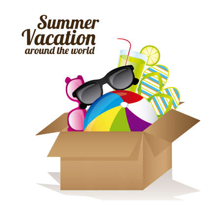 weekend: Summer Vacation design over white background, vector illustration