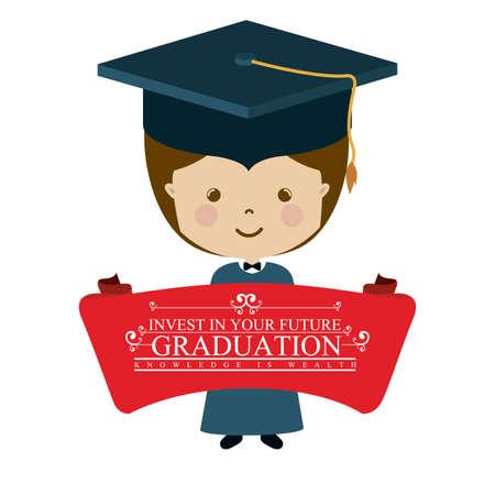 graduation ceremony: University and Graduation design over white background, vector illustration