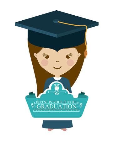 graduate student: University and Graduation design over white background, vector illustration