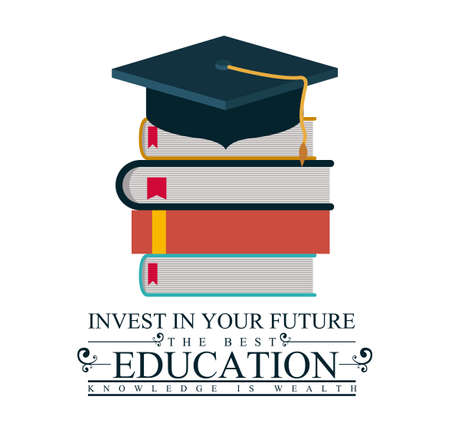 akademický: University a Graduation design na bílém pozadí, vektorové ilustrace