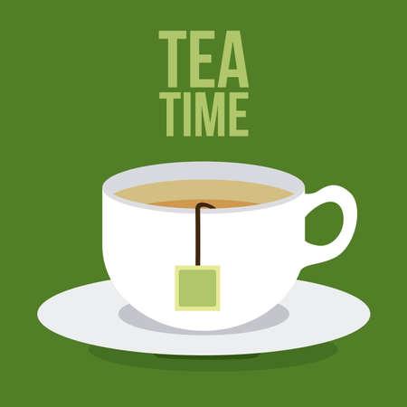 tazza di th�: Design Tea time su sfondo verde, illustrazione vettoriale Vettoriali