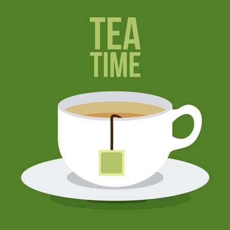 Tea time design over green background, vector illustration Stock Illustratie