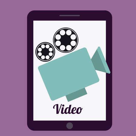 gadgets: Gadgets design over purple, background, vector illustration