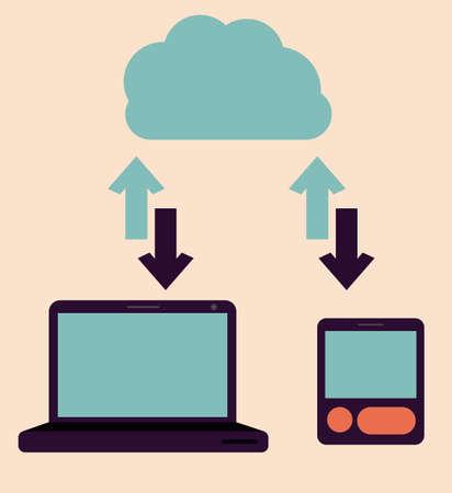 gadgets: Gadgets design over pastel background, vector illustration Illustration