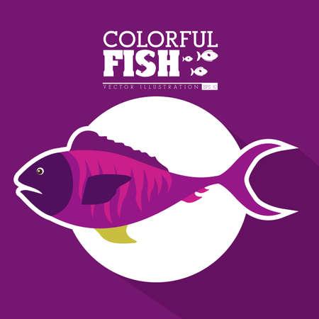 submerged: Fish design over purple background, vector illustration