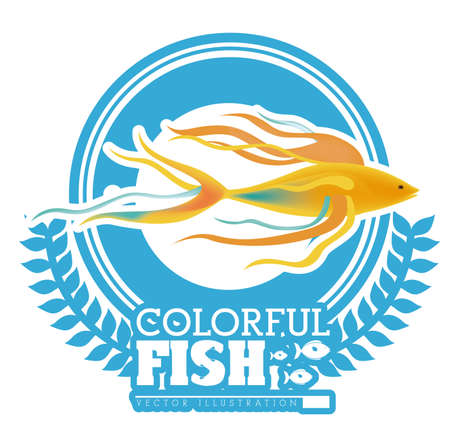 submerged: Fish design over white background, vector illustration Illustration