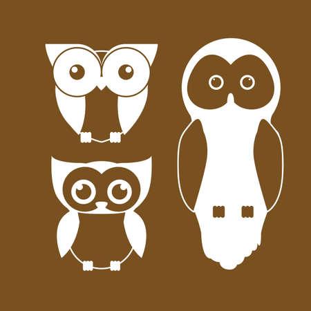 fond brun: Design Hibou sur fond brun, illustration vectorielle