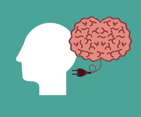 mental object: Big idea design over green background, vector illustration