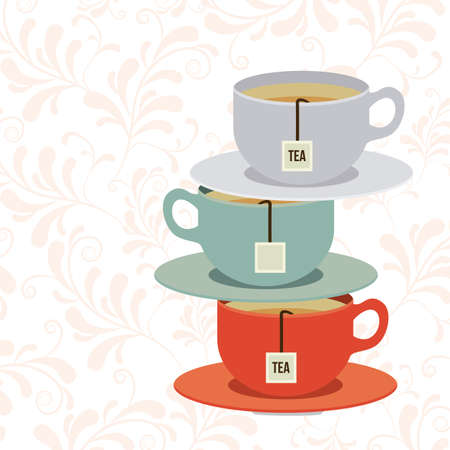 time over: Tea time design over white background, vector illustration