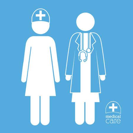 mentors: Medical care design over blue background, vector illustration Illustration