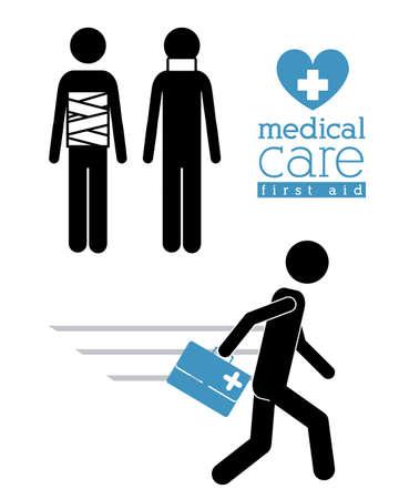 biomedical: Disegno assistenza medica su sfondo bianco, illustrazione vettoriale Vettoriali