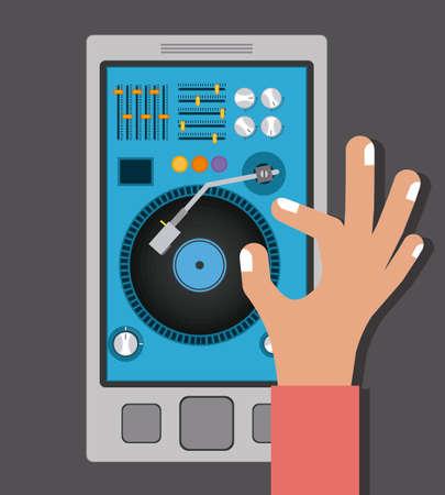 disc jockey: Music  design over grey background, vector illustration