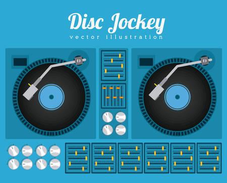 disc jockey: Music  design over blue background, vector illustration Illustration