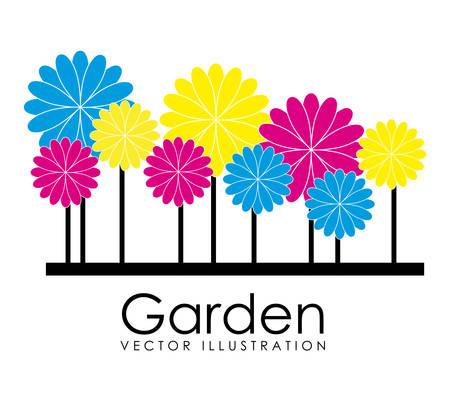 garden design: Design Garden su sfondo bianco, illustrazione vettoriale