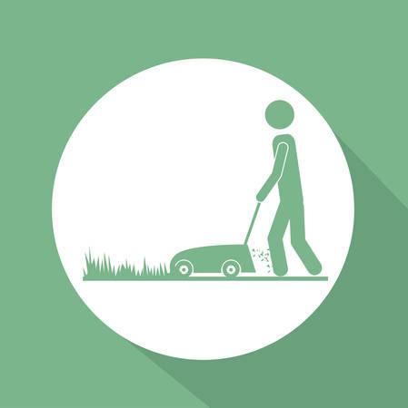 garden design: Disegno del giardino su sfondo verde, illustrazione vettoriale