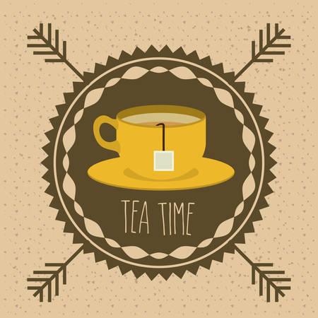 tea time: Tea time design over pointed background, vector illustration Illustration