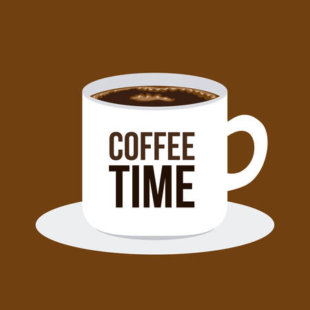 time over: Coffee time design over brown background, vector illustration