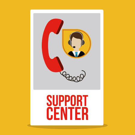 support center: Support  center design over yellow background, vector illustration