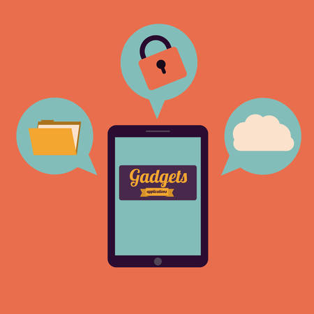 gadgets: Gadgets design over orange background, vector illustration