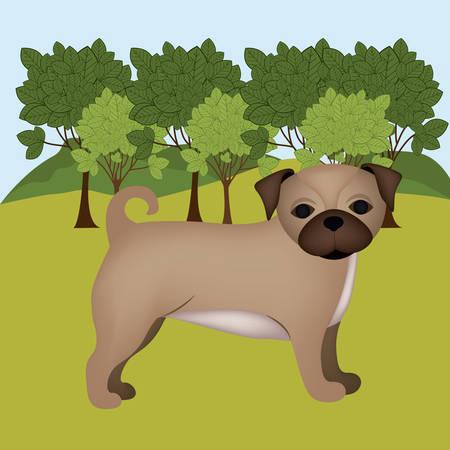 trusting: Pet design over landscape background,vector illustration