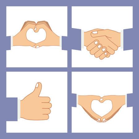 using senses: Hands gesture design over purple background, vector illustration Illustration
