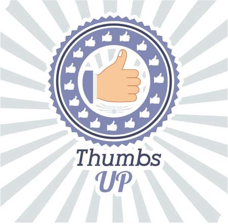 using senses: Hands gesture design over striped background, vector illustration Illustration