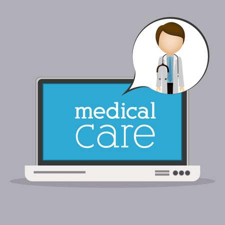 mentors: Medical care design over grey background, vector illustration